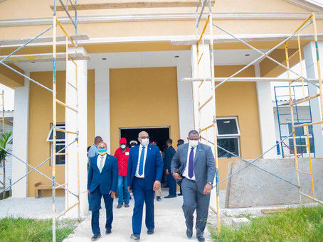 Prime Minister Minnis tours construction progress at Rand Memorial Hospital and Grand Bahama airport