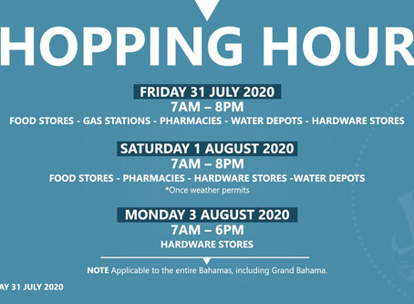 Bahamas Shopping Hours - 31st July - 3rd August 2020