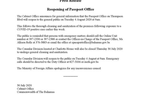 Press Release - Reopening of Passport Office