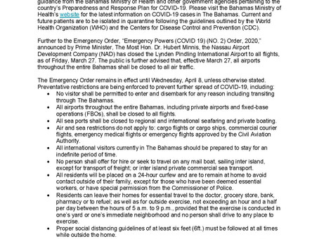 Bahamas Ministry of Tourism & Aviation Statement on Covid-19