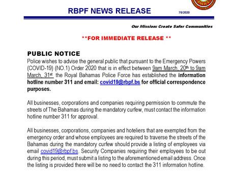 Royal Bahamas Police Force NEWS RELEASE