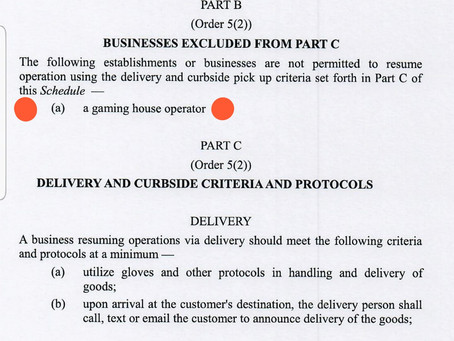 Businesses Excluded From Part C - Emergency Order