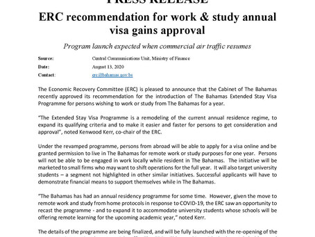 ERC recommendation for work & study annual visa gains approval