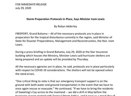 Storm Preparation Protocols in Place, Says Minister Iram Lewis