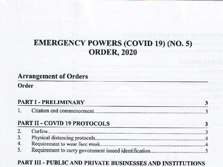 Emergency Powers (Covid 19) (No.5) Order, 2020