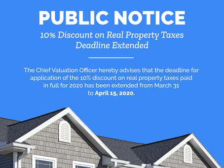 Real Property Taxes Deadline Extended