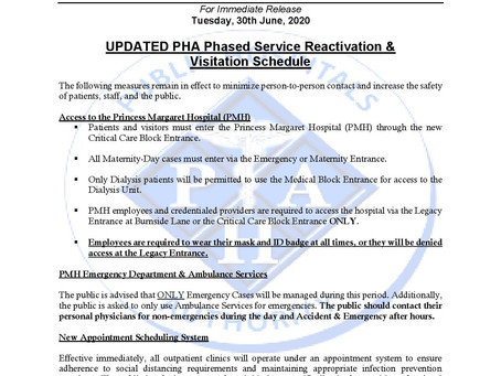 Public Hospitals Authority - Updated Phased Service Reactivation & Visitation Schedule