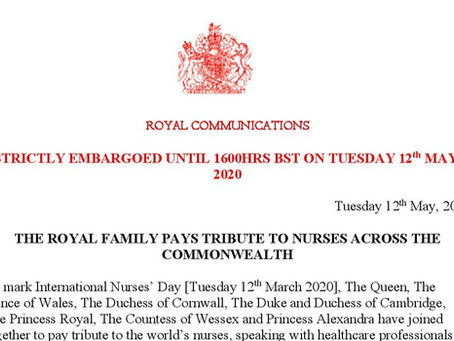 PRESS RELEASE: The Royal Family Pays Tribute To Nurses Across The Commonwealth