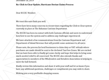 Click to Clear Update, Hurricane Dorian Claims Process