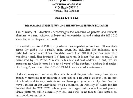 Press Release - Ministry of Education