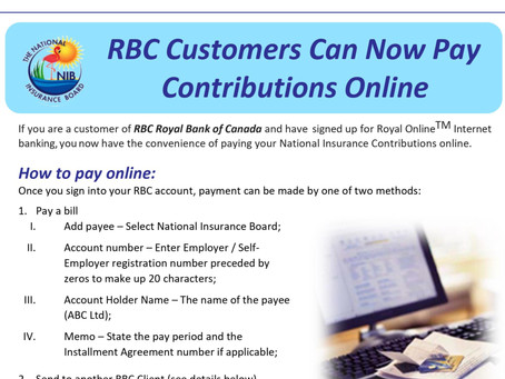NIB Payment Options | RBC Customers can now pay contributions online