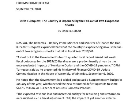 DPM Turnquest: The Country is Experiencing the Fall-out of Two Exogenous Shocks