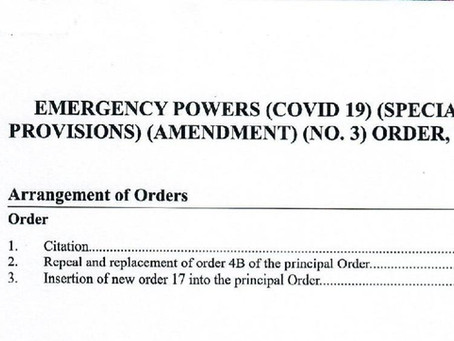 Emergency Powers (Covid-19) (Special Provisions) (Amendment) (NO.3) Order, 2020