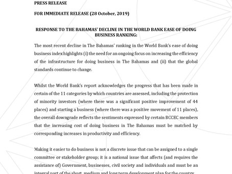 RESPONSE TO THE BAHAMAS' DECLINE IN THE WORLD BANK EASE OF DOING BUSINESS RANKING