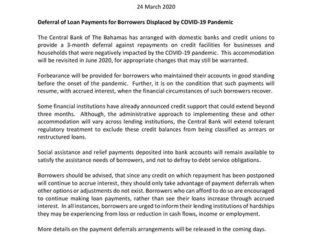 Deferral of Loan Payments for Borrowers Displaced by COVID-19 Pandemic