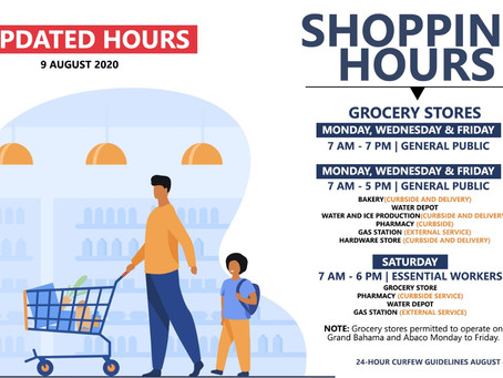 Updated Shopping Hours - 9th August 2020