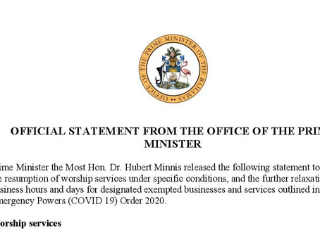 Official Statement from the OPM - Worship Services & Exempted Businesses Extension