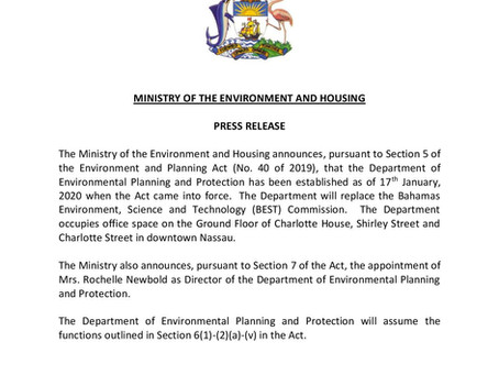 Press Release - Ministry of Environment & Housing