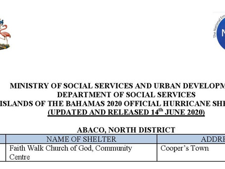 Islands of The Bahamas 2020 Official Hurricane Shelters - Update#2