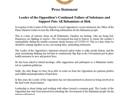 Leader of the Opposition's Continued Failure of Substance and Support Puts All Bahamians at Risk