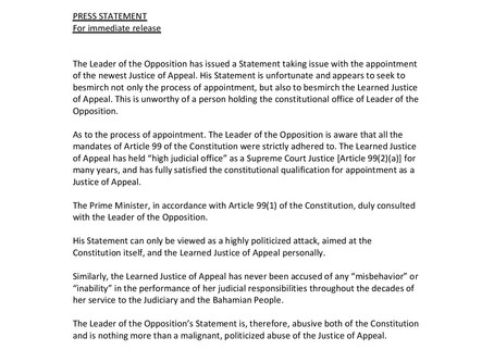 Press Statement - Office of the Attorney General and Ministry of Legal Affairs