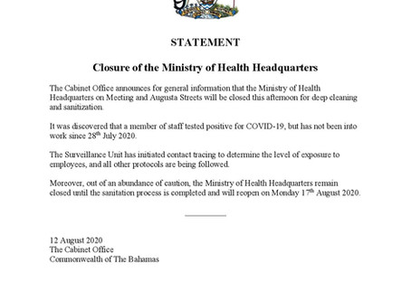 Closure of the Ministry of Health Headquarters