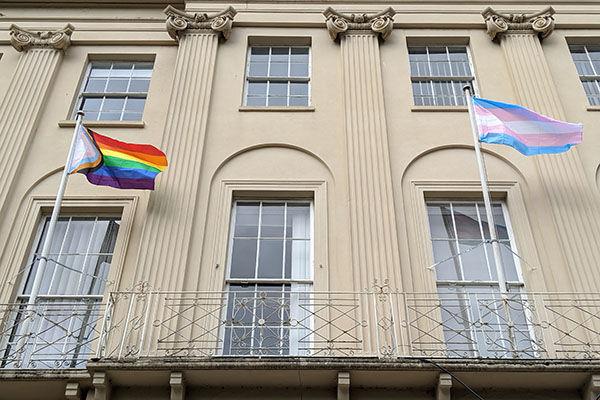 Progress & Trans Flag Outside Cheltenham Borough Council Offices