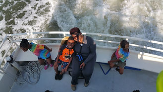 cwk mother and son on a ferry to cumberland island