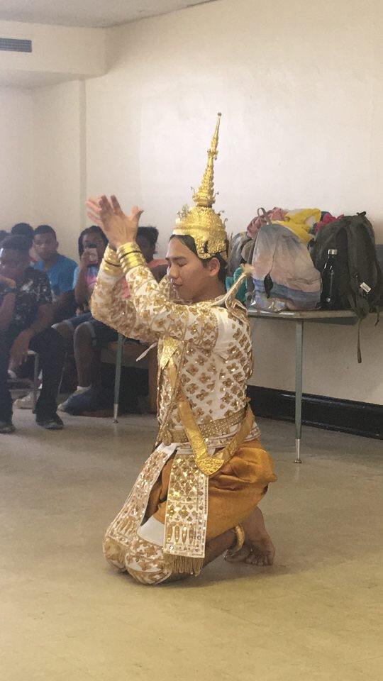 Buddhist monk performs ritual dance