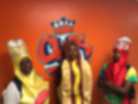 staff dressed as hotdog and condiments at cwk