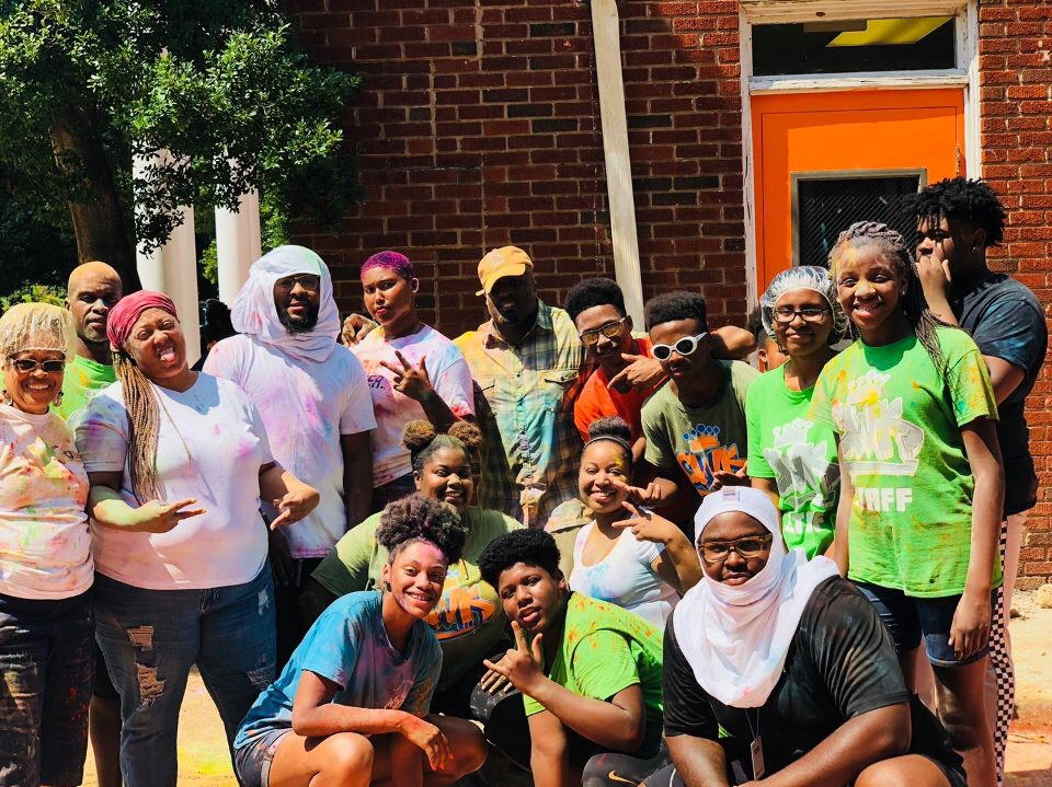 staff does color blast at camp