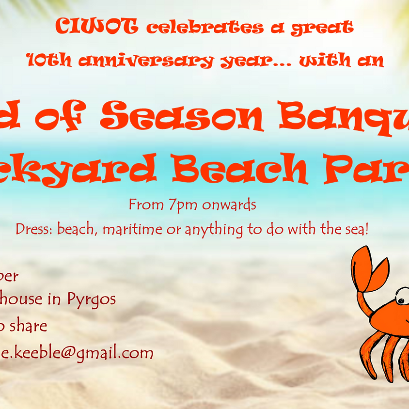 CIWOT Members only- End of Season Banquet and Beach Party!