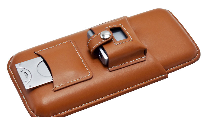 ALLWAYS CIGAR CASE WITH CUTTER AND LIGHTER