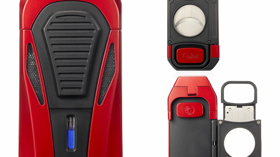 COLIBRI BOSS TRIPLE-JET LIGHTER WITH/CUTTER, RED/BLACK