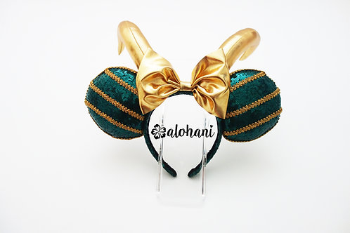 Sequin God of Mischief Gold Horn Mouse Ears