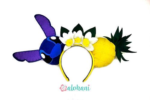 Stitch and Pineapple MouseEar Headband