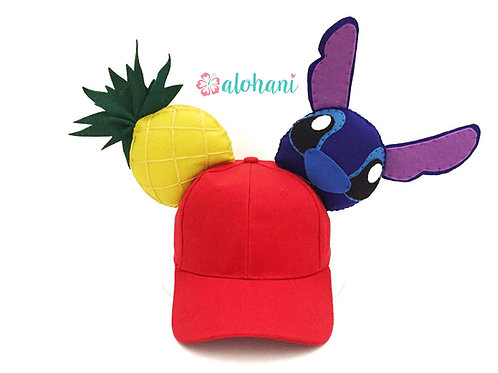 Stitch and Pineapple Felt Mouse Ear Hat