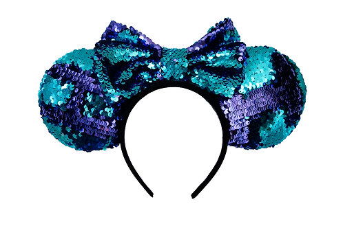 Reversible Teal and Purple Mermaid Sequin Mouse Ears