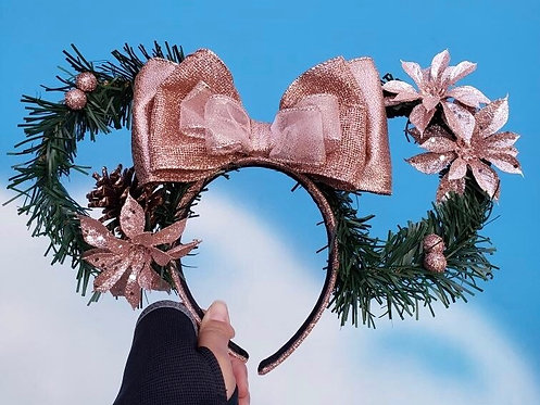 Rose Gold Wreath Mouse Ears