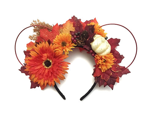 Fall Floral and Wire One-of-a-kind Mouse Ears