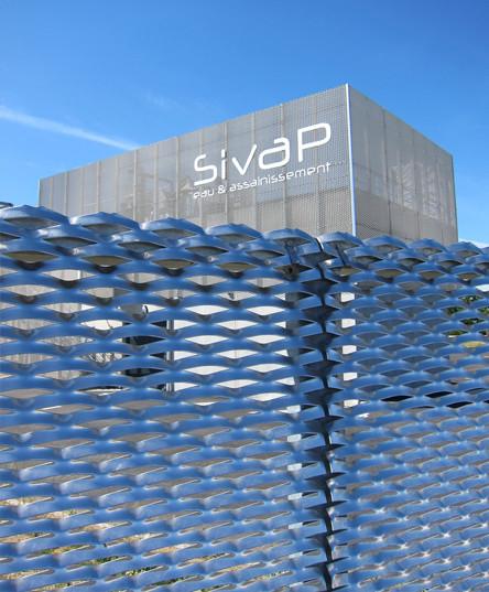 SIVAP - Station de traitement des eaux usées - Signalétique - Façade du bâtiment principal