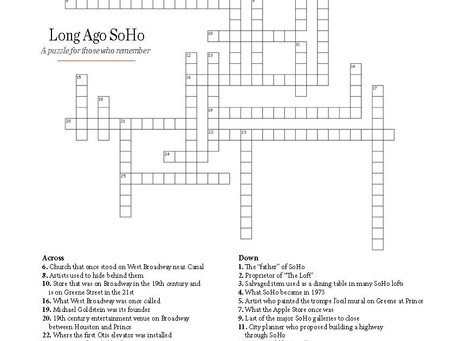 "The Community Room Puzzle: ""Long Ago SoHo"""