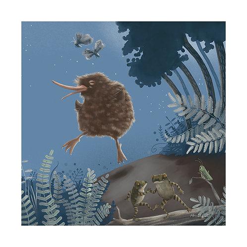 Kiwi Dancing - A4+ and A3 Print