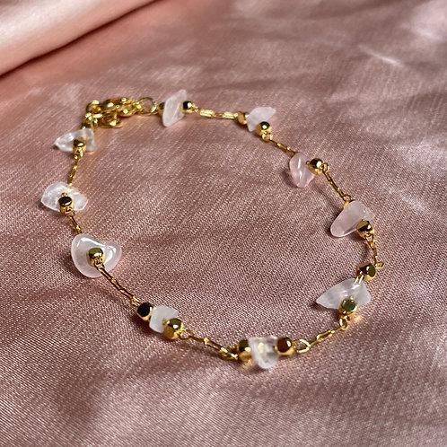 Bracelet chaine - Quartz Rose