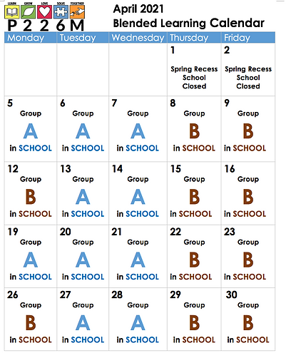 April Schedule For Blended Students
