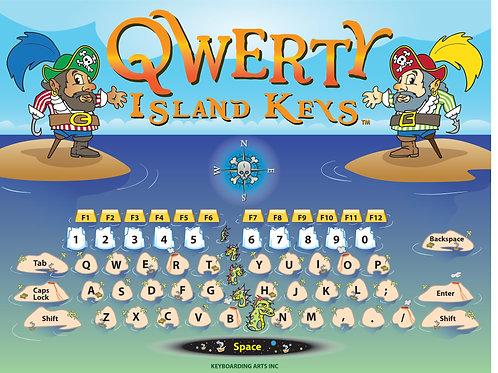 QWERTY Island Keys wall map