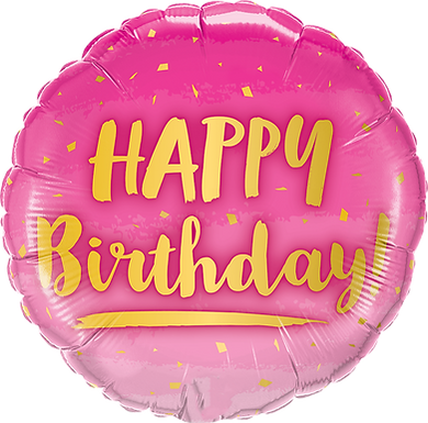"18"" Foil Birthday Gold & Pink"