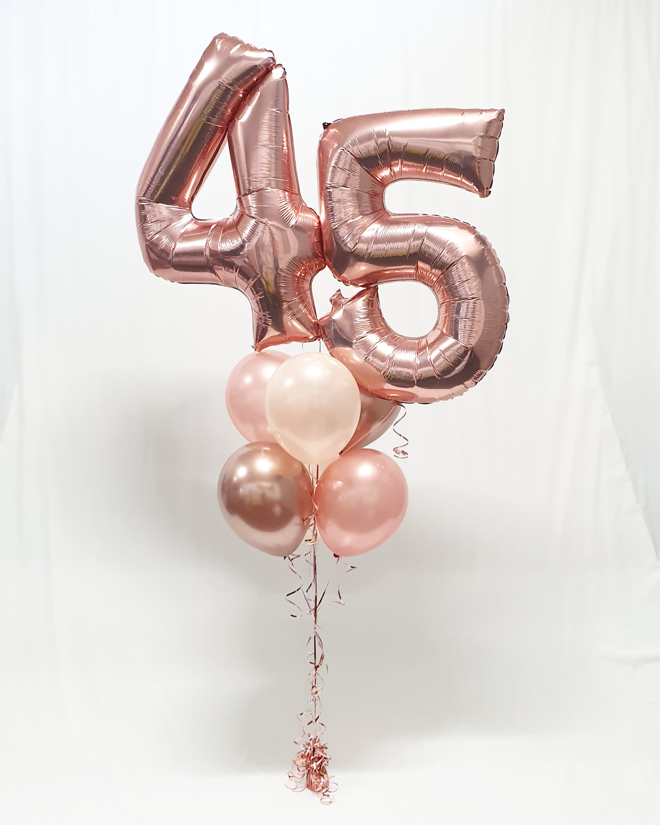 $80 - Rose Gold 45 Helium Bouquet