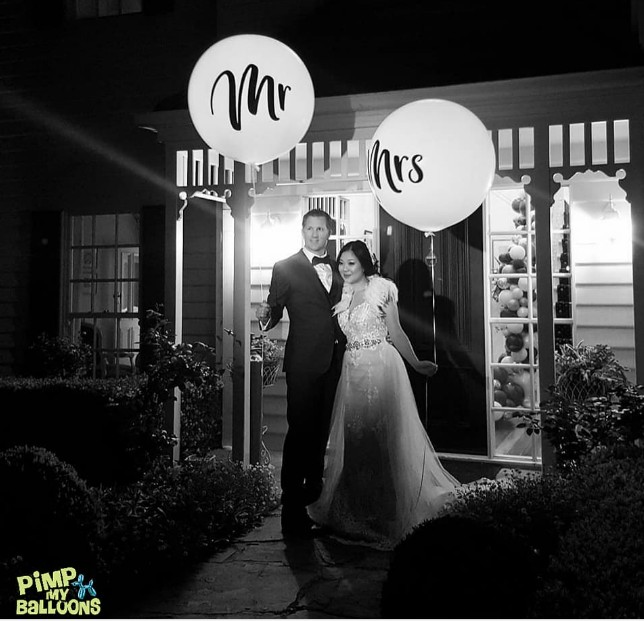 Light up Mr & Mrs Helium Balloons