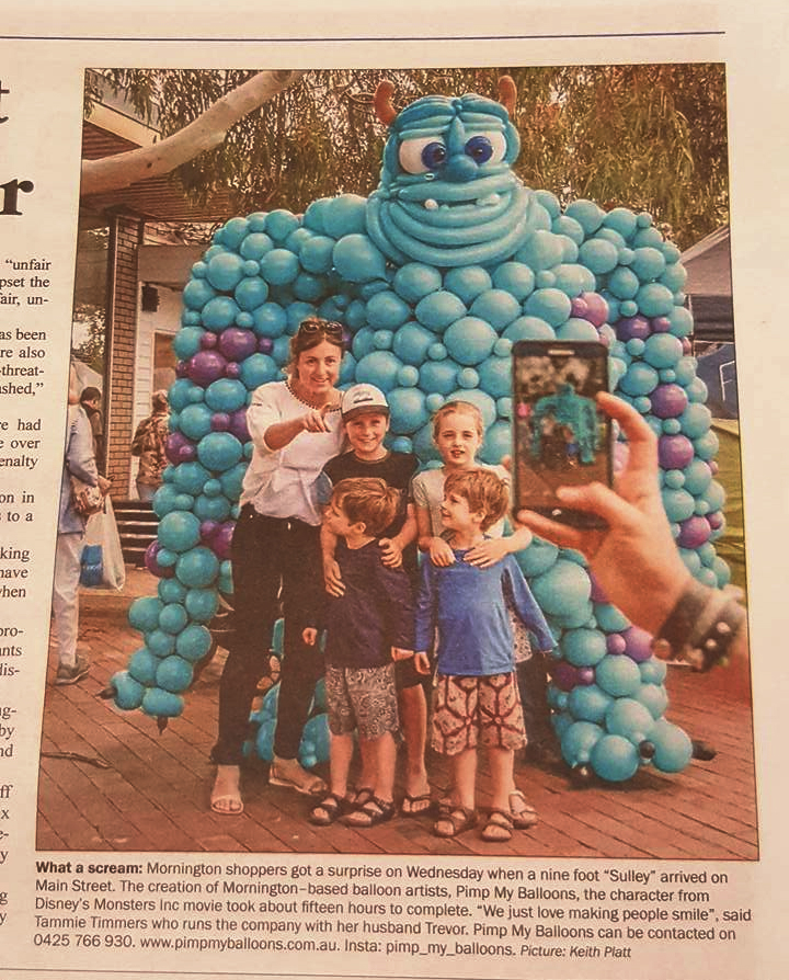 Sully Monsters Inc in the Mornington Newspaper